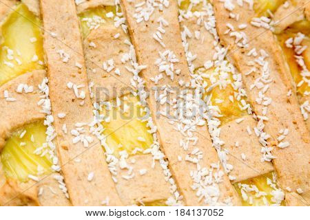 Crostata with cream - close up on cake