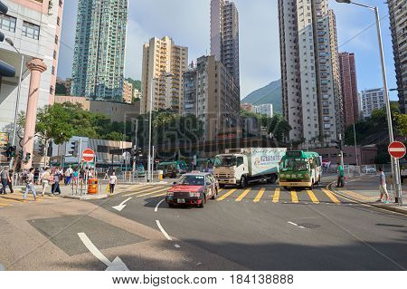 HONG KONG - OCTOBER 25, 2015: Kennedy Town urban landscape at daytime. Kennedy Town is at the western end of Sai Wan on Hong Kong Island