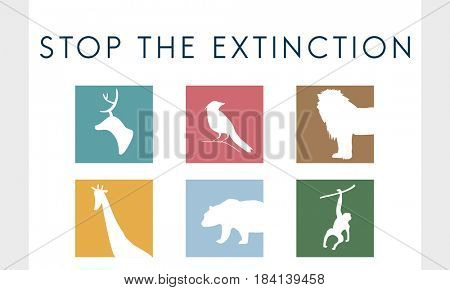 Save endangered animals icon graphic