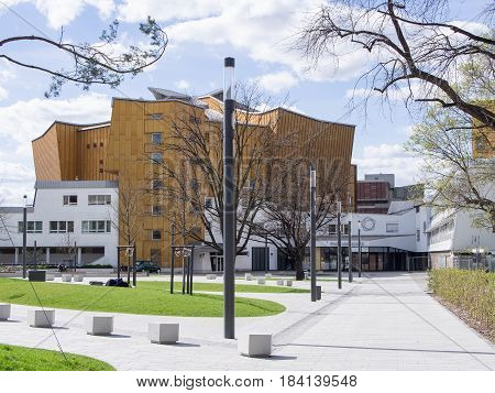 BERLIN GERMANY - APRIL 6 2017: Entrance To The Berliner Philharmonie Concert Hall In Berlin Home to the Famous Berlin Philharmonic Orchestra