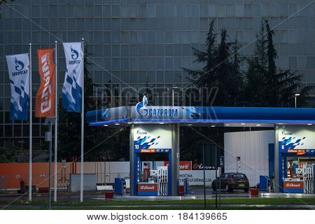 BELGRADE SERBIA - APRIL 29 2017: Gazprom gas station in front of their headquarters for Serbia. Gazprom is one of the main power and energy companies of Russia with offices worldwide.