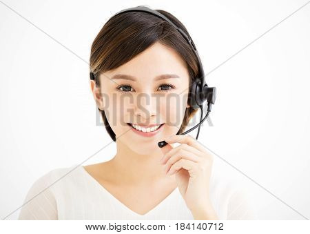 Smiling young asian business woman with headsets