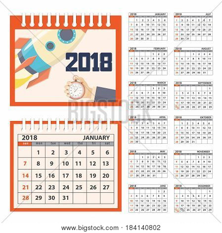 Business calendar for desk on 2018 year. Set of the 12-month isolated pages with image on the cover. Week starts on Sunday. eps 10
