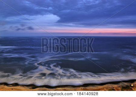 Coastline in Miraflore a district in the south of Lima, Peru