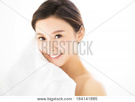 Closeup young woman face with health skin