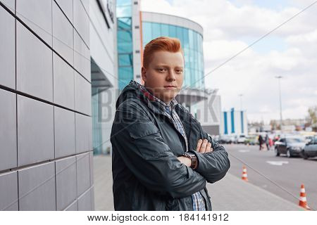 A Portrait Of Confident Teenager With Red Hair And Stylish Hairdo Wearing Checked Shirt And Jacket S
