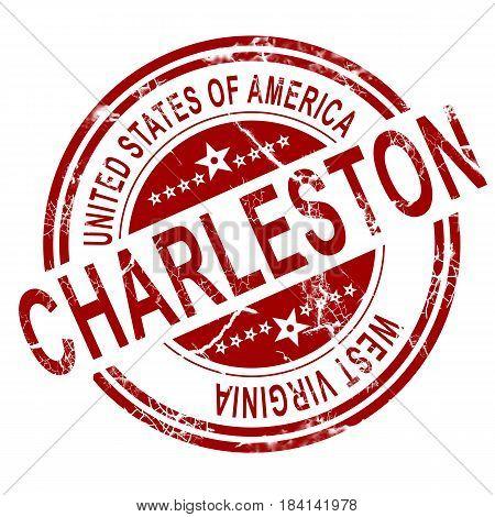 Charleston West Virginia Stamp With White Background