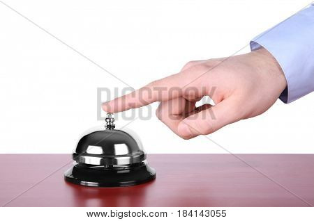 Man ringing service bell isolated on white