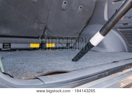The Man Vacuums In A Passenger Compartment.
