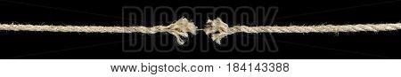 Rope fraying isolated on black