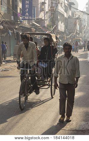 DELHI INDIA - APR 1 : rickshaw taxi service in chawri bazar at old delhi. old delhi is famous place of delhi on april 1 2015 india