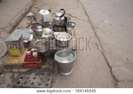 DELHI INDIA-MAR 15 : tea stall at chawri bazar in old delhi. tea or chai is popular beverage in delhi and india on march 15 2015 india