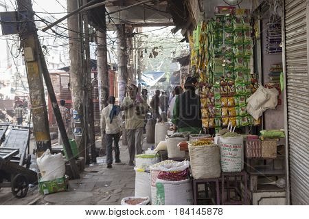 DELHI INDIA - MAR 21 : herb and spice shop in spice market at old delhi. this market is famous and biggest spice market in delhi on march 21 2015 india