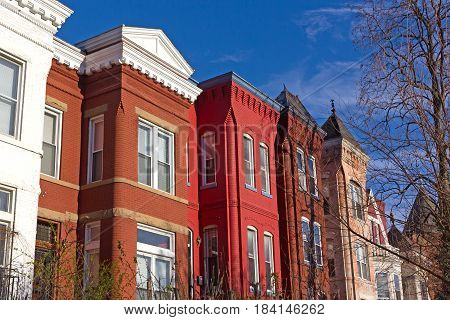 Colorful urban architecture of suburban Washington DC USA. Historic brick row houses in US capital.