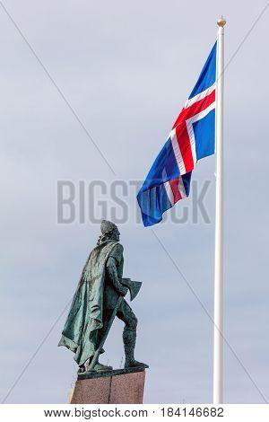 Statue Of Leif Eriksson In Reykjavik, Iceland .