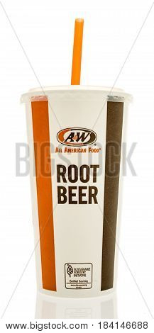 Winneconne WI - 23 April 2017: An A&W drink with root beer on an isolated background.