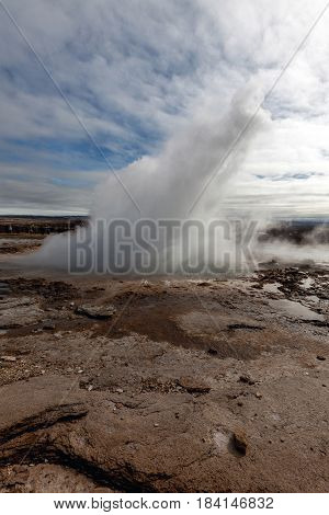 Eruption Of The Strokkur Geyser In Iceland