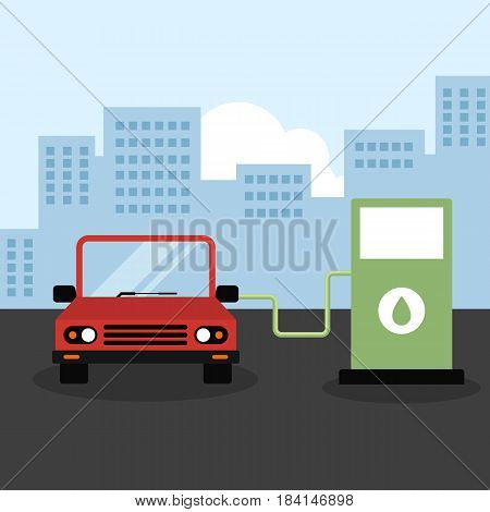 A car at hydrogen station. Ecology and green energy concept flat design vector illustration