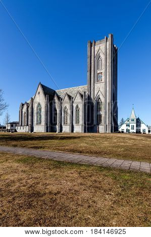 Cathedral Landakotskirkja In Reykjavik, Iceland