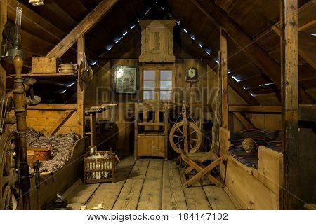 Icelandic Log Cabin At The National Museum Of Iceland