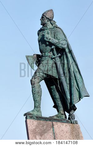 REYKJAVIK ICELAND - APRIL 15 2017: Statue of Leif Eriksson the best known Viking to have explored North America erected in Reykjavik Iceland in 1932 sculpted Alexander Stirling Calder.