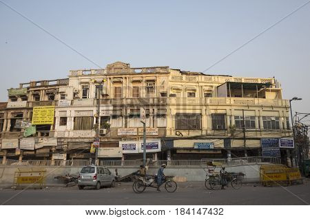 DELHI INDIA - JUN 19 : architecture of old building in chawri bazar in morning. this old market is large hardware market of delhi on june 19 2015 india