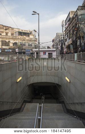 DELHI INDIA - APR 1 : delhi metro entrance way at hauz qazi chowk in chawri bazar. delhi metro is massive public transportation of delhi on april 19 2015 india
