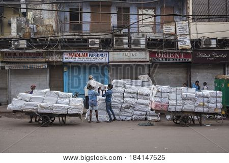 DELHI INDIA - APR 1 : goods transportation in morning at chawri bazar. this area is biggest wholesale market in old delhi of Delhi on april 1 2015 india