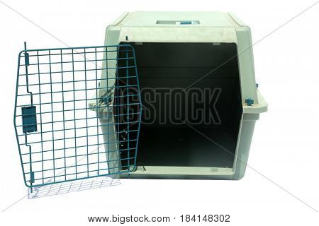 Pet crate. Pet cage. isolated on white. room for text.