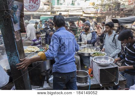 DELHI INDIA - DEC 20 : india food stall in spice market chandni chowk. this area is in old delhi this is famous place of delhi on december 20 2014 india