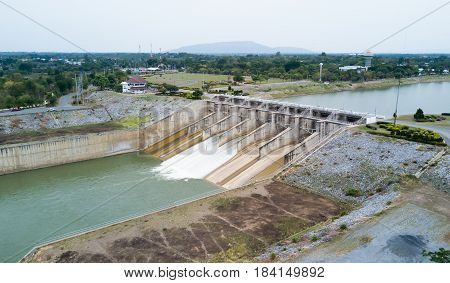aerial view from drone: Dam gate of Pa Sak Cholasit Dam Project is one of the major irrigation projects of Thailand. The dam also decreases problems in Bangkok more flood control