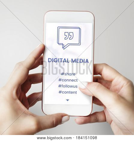 Digital Media Speech Bubble with Quotation Mark