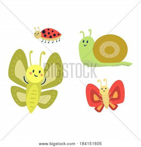 Colorful butterfly with abstract decorative snail ladybug pattern vector. Graphic summer free fly present silhouette. Beauty nature spring insect decoration.