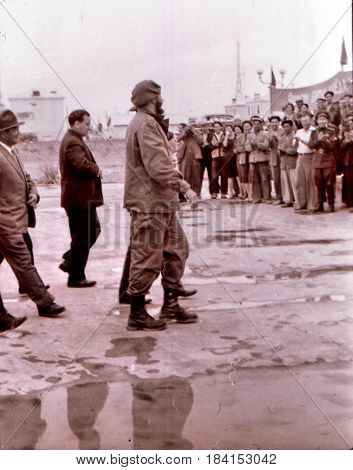 Residents are met Fidel Castro in Yangiyer Uzbekistan May 11 1963