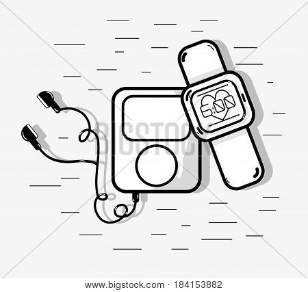 flat line smart watch and mp3 fitness, vector illustration