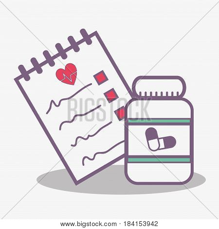 flat line concept medical prescription and jar pills, vector illustration