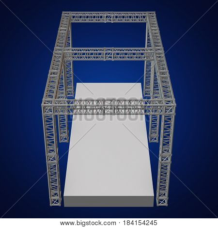 Steel truss girder rooftop construction with outdoor festival stage. 3d render podium on blue.