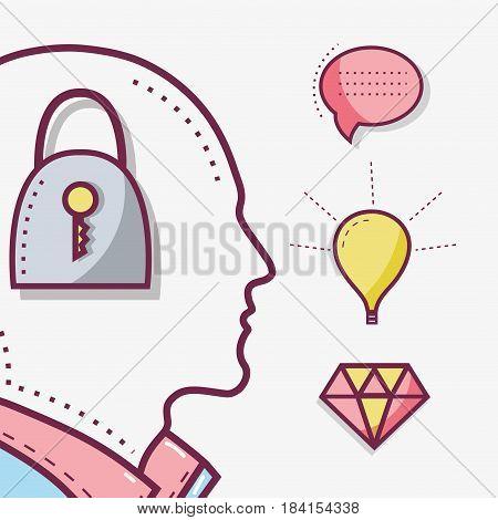 line silhouette head concept mental health, vector illustration