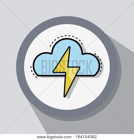 flat line icon thunderstorm weather, vector illustration