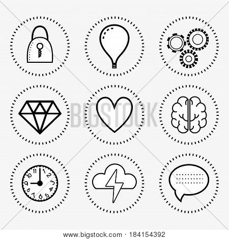 line set icon mental health, vector illustration