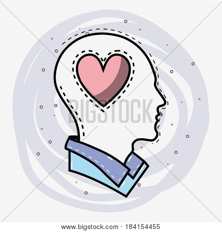 line silhouette head thinking in love, vector illustration