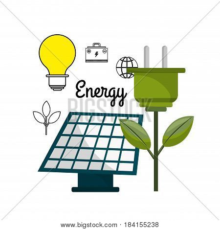 solar energy with power cable and bulb, vector illustration