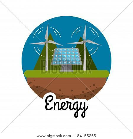 windpower and energy solar to care environment, vector illustration