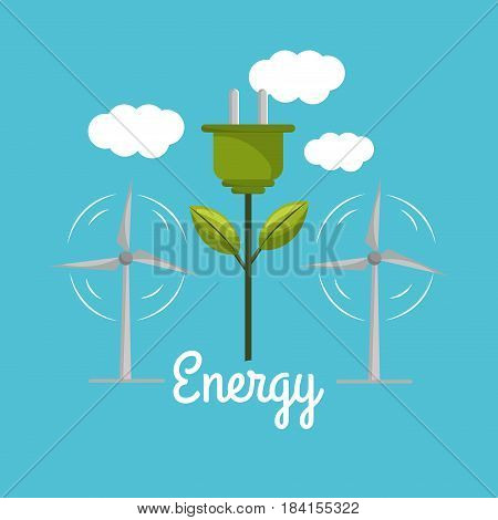 windpower with power cable to environment care, vector illustration