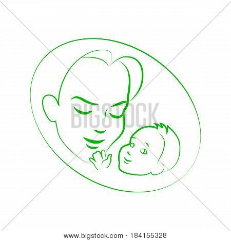 Vector illustration sketch mother with a small baby. Logo mom and newborn baby on an isolated white background. Doodle hand-drawn line drawing. Woman holding infant.