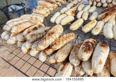 Roasted Banana Or Grilled Banana In Thai Style Traditional,close Up The Grilled Bananas