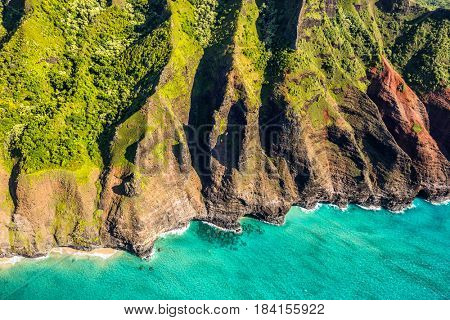 Na pali coast in Kauai, Hawaii. Aerial view from helicopter of coastline.