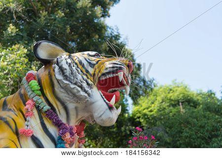Stone tiger statue in Tiger Temple Thailand