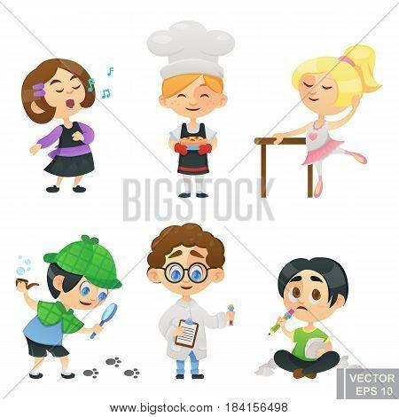 Illustration Of Kids Children Jobs And Professions Cartoon Characters Singer, Baker, Ballerina, Dete