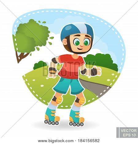 Cartoon Cute Little Child Kid Enjoying Summer Outdoor In Park Skating On Rollers